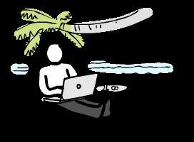 Ilustración de persona trabajando en la playa